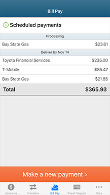 example of mobile banking bill pay screen