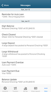 example of mobile banking messages screen
